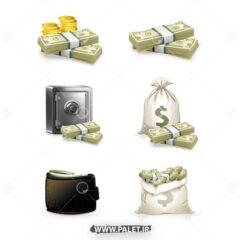 وکتور دلار و گاوصندوق