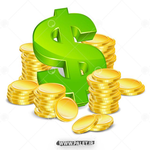 وکتور دلار و سکه های طلا