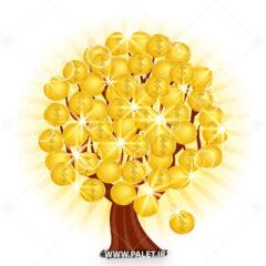 وکتور درخت سکه طلا