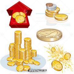 وکتور سکه های خارجی زیبا
