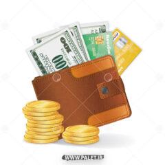 وکتور کیف پول با اسکناس و طلا