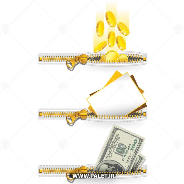 وکتور طرح سرازیر شدن پول در جیب