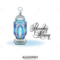 وکتور فانوس شمعی آبی رنگ
