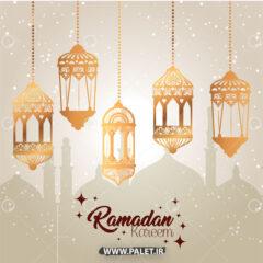 پس زمینه ماه رمضان با فانوس طلایی