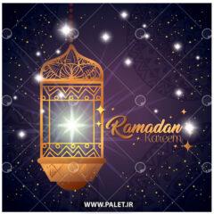 وکتور پس زمینه ماه رمضان و فانوس