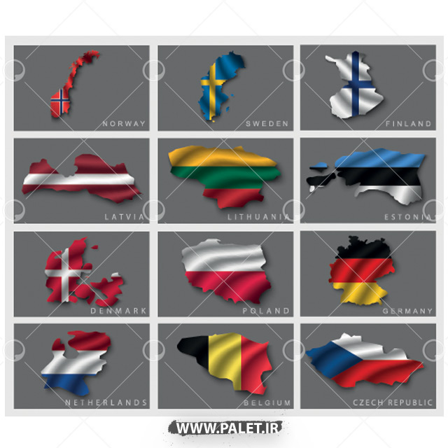 وکتور پرچم کشور های اروپایی