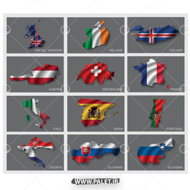 وکتور پرچم کشور های پیشرفته دنیا