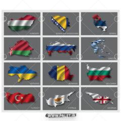 وکتور پرچم کشورهای آسیایی شمالی