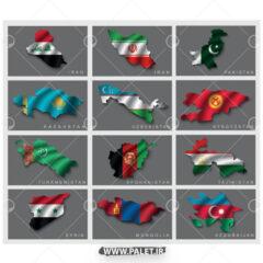 وکتور پرچم کشور های آسیایی
