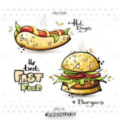 طرح لایه باز کارتونی ساندویچ داغ