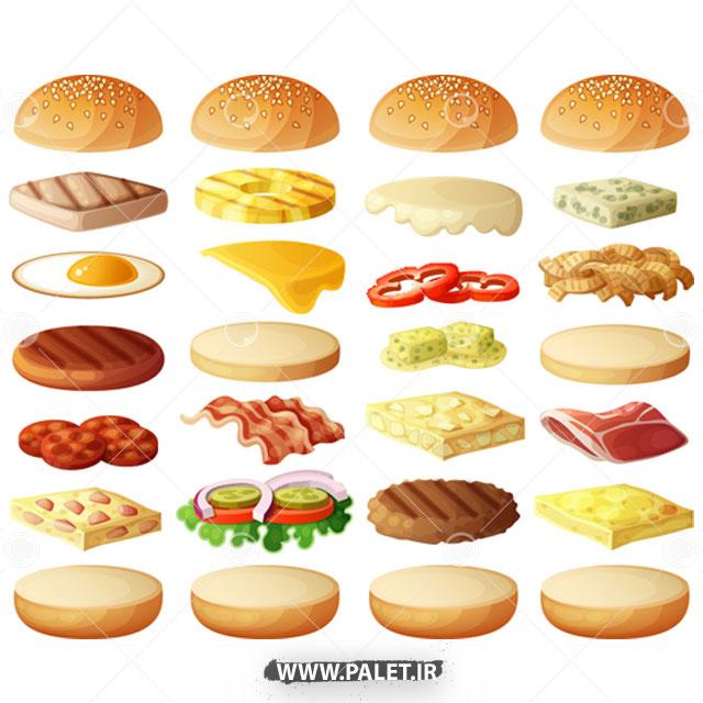 وکتور لایه های ساندویچ های همبرگر