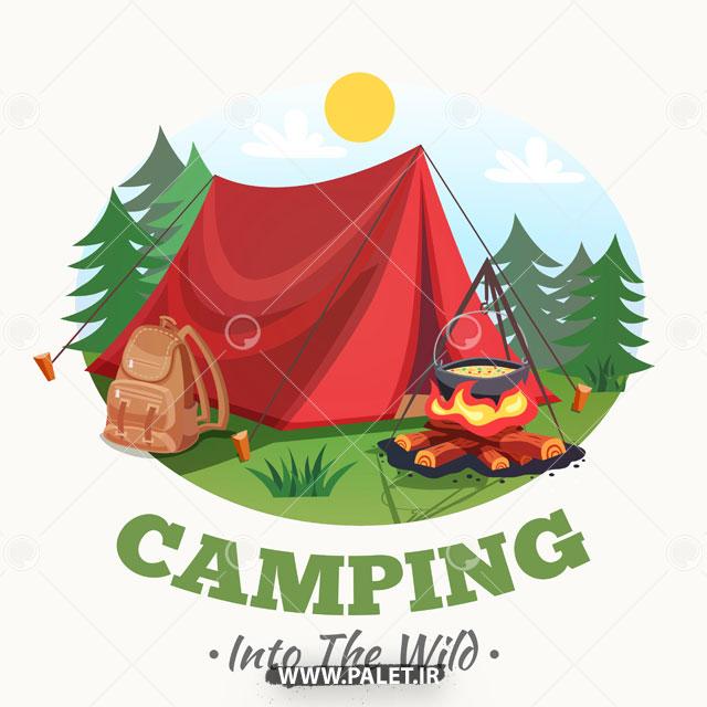 طرح لایه باز چادر کمپ جنگلی