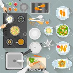 وکتور لایه باز آشپزخانه و آشپزی