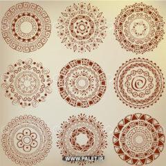 دانلود وکتور ماندالا سنتی طرح گل