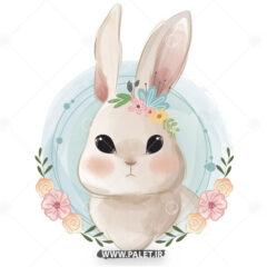 وکتور خرگوش سفید طرح بچگانه