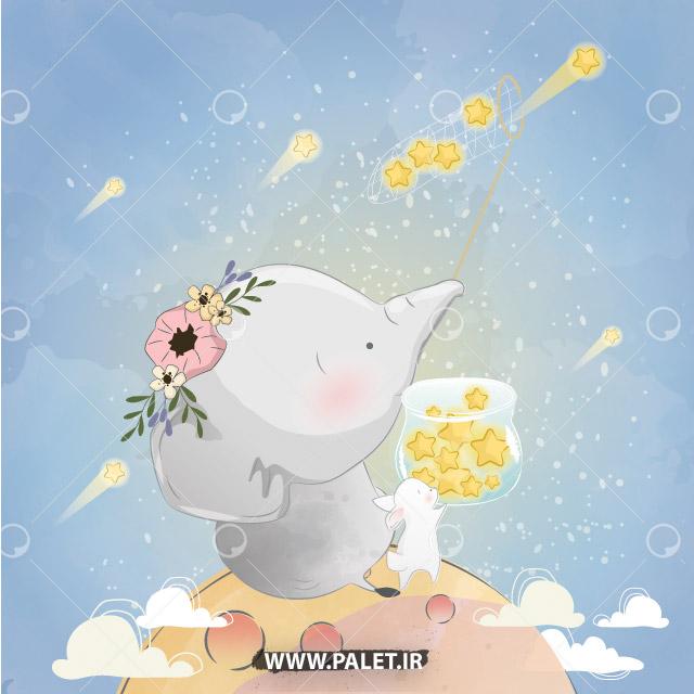 دانلود وکتور فیل و ستاره کارتونی