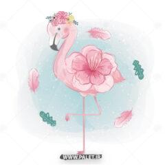 دانلود وکتور فلامینگو و گل صورتی