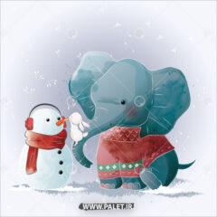 دانلود وکتور کارتونی فیل و آدم برفی