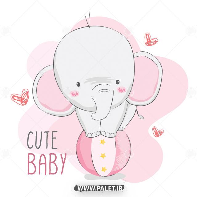 دانلود طرح فیل بچه کارتونی بامزه