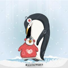 دانلود وکتور پنگوئن و بچه پنگوئن
