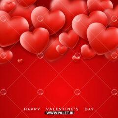 دانلود پس زمینه قرمز با قلب های کلاسیک