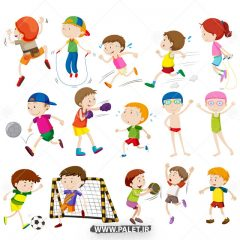 دانلود وکتور کاراکتر ورزشی شاد پسرانه
