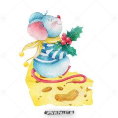 وکتور موش خوشحال و پنیر کریسمس