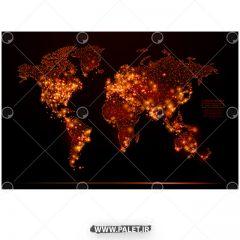 دانلود طرح نقشه جهان با اتصال نوری