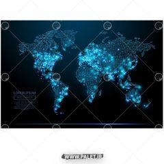 دانلود پس زمینه نقشه جهان با نور آبی