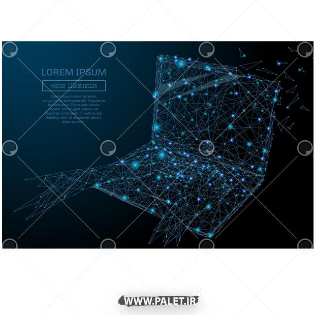 دانلود وکتور لپ تاپ نوری آبی