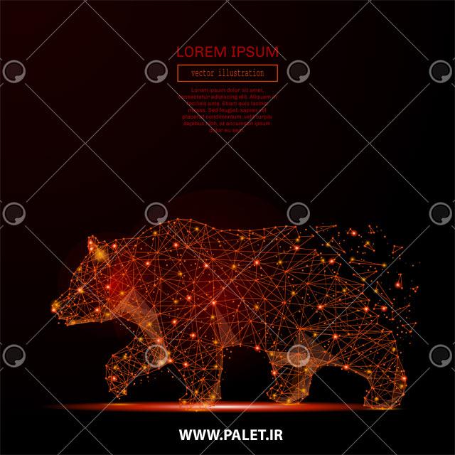 وکتور پس زمینه خرس نوری قرمز
