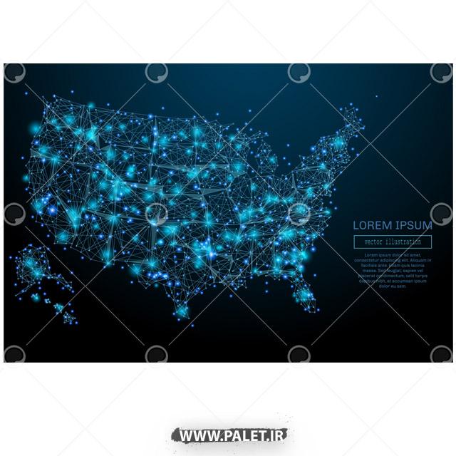 دانلود طراحی نقاط نورانی آبی شهر