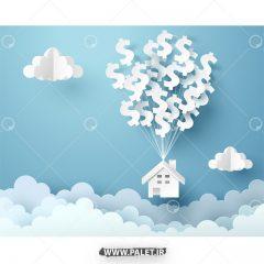 دانلود وکتور خانه روی ابر ها