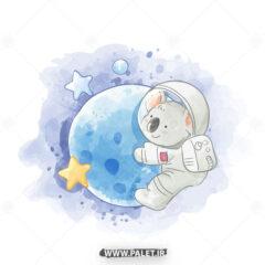 دانلود وکتور کارتونی پاندا فضانورد