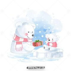 دانلود طرح کارتونی خرس قطبی مادر