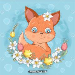 دانلود وکتور دختر بچه روباه کارتونی