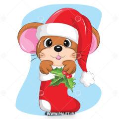 وکتور کارتونی موش با کلاه کریسمس