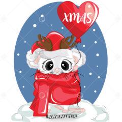 دانلود وکتور موش کریسمس قرمز 07