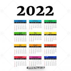 دانلود وکتور تقویم 2022 لایه باز