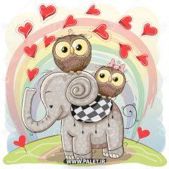 دانلود طرح پس زمینه فیل و جغد کارتونی