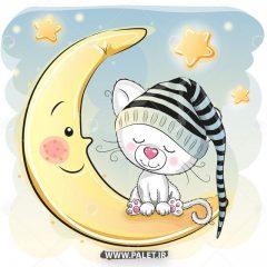 وکتور گربه ملوس سفید روی ماه