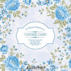 دانلود وکتور کادر گل آبی برای متن زیبا