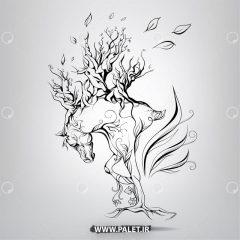 دانلود وکتور نقاشی پرتره اسب زیبا