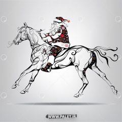 دانلود وکتور بابانوئل و اسب وحشی زیبا