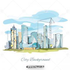 دانلود وکتور پس زمینه نقاشی شهرک صنعتی