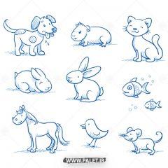 دانلود وکتور نقاشی حیوانات با خودکار