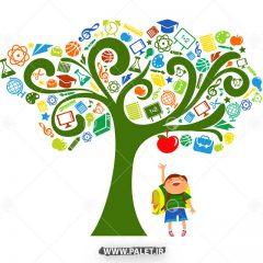 دانلود وکتور درخت دانش و پسر کودک