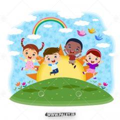 طرح پس زمینه کودکان شاد مهد کودک