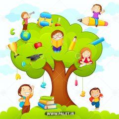 طرح پس زمینه درخت دانش و کودکان