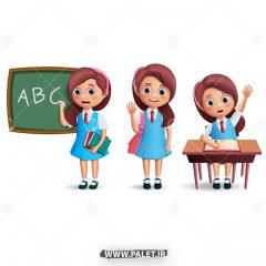 دانلود وکتور کاراکتر دانش آموز دختر
